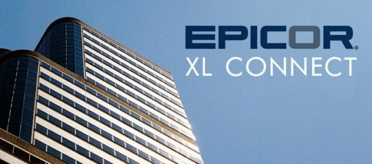 """An image of a tall building and the text """"epicor xl connect""""."""
