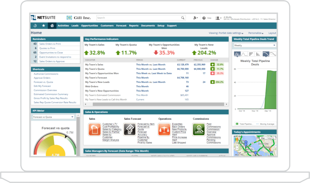 A screenshot of the NetSuite Human Resources when accessed from the cloud.