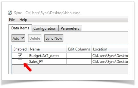 A screenshot of how items are enabled and disabled for syncing in the Epicor Data Analytics 7.3.0 Interface.