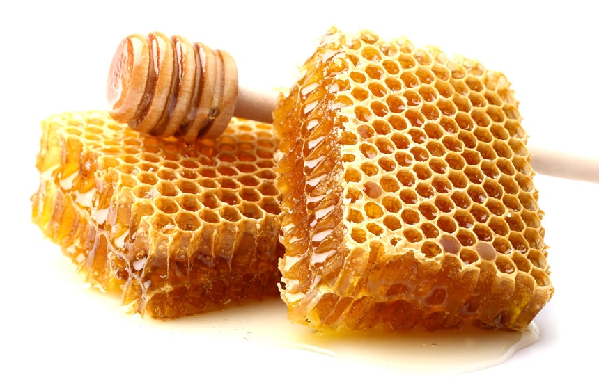 A closeup of honeycomb uesd in mead, which enjoys several benefits under the NY farm beverage license.