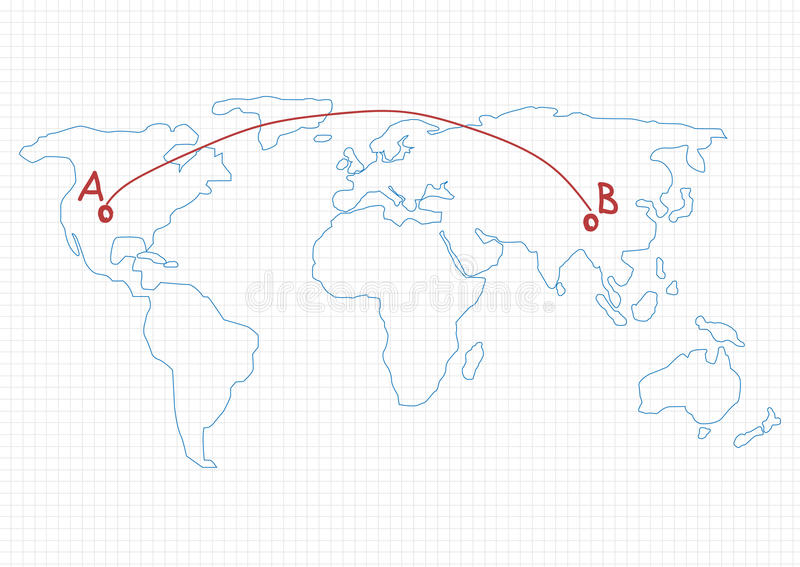 an image of the world map with two points connected by a line. Points are labeled a and b.
