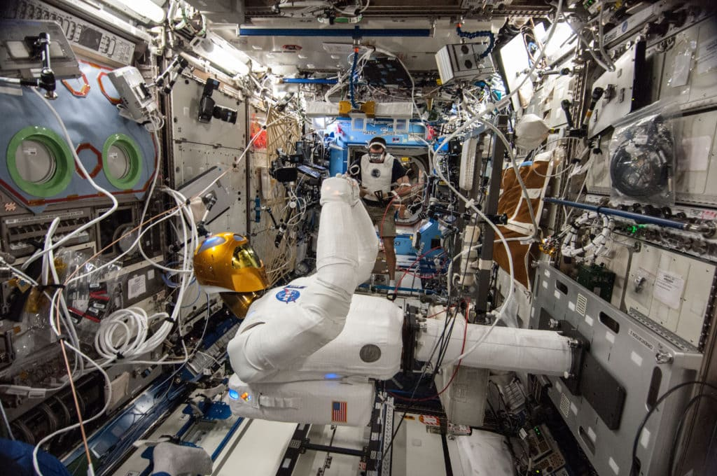 A picture of Robonaut 2 aboard the international space station.