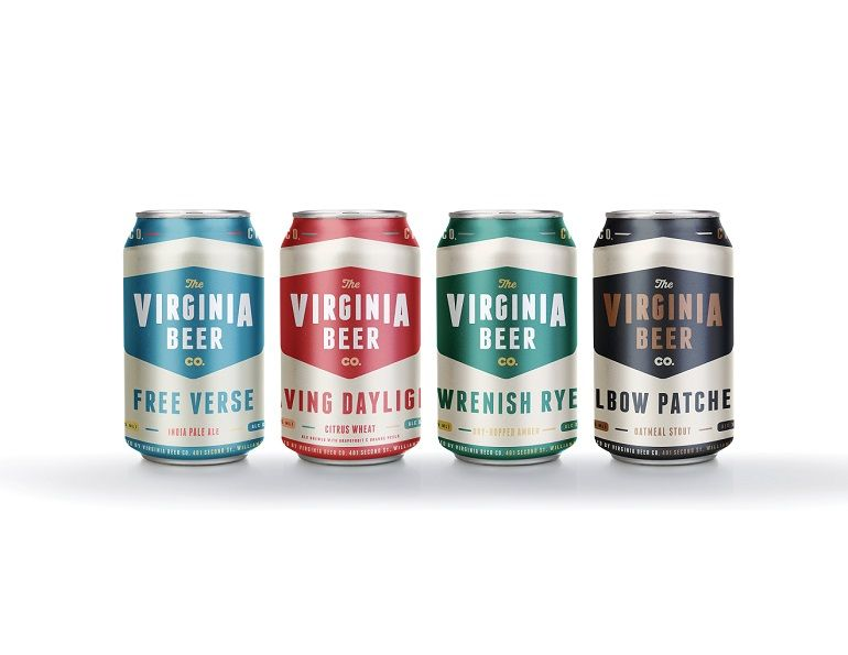 A picture of several beer cans from the virginia beer co.