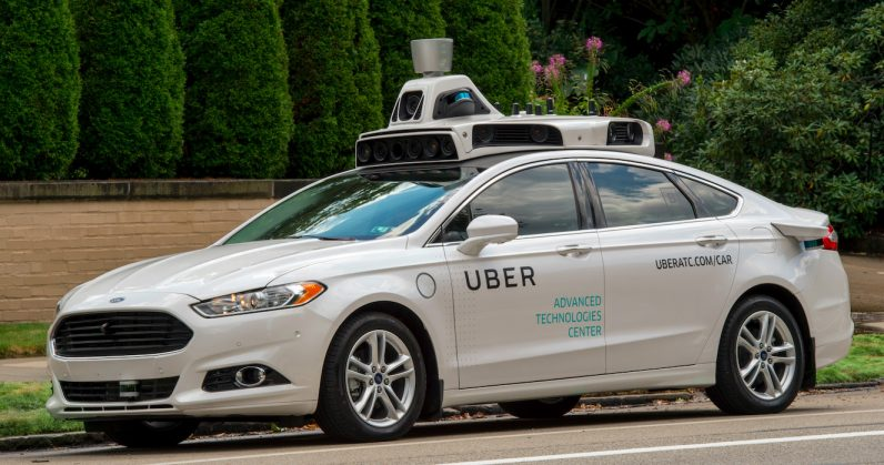 A photo of an autonomous vehicle owned by Uber.