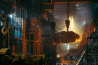a photo of a steelworker in the foundry like those ArcetorMittal steelworker strike participants.