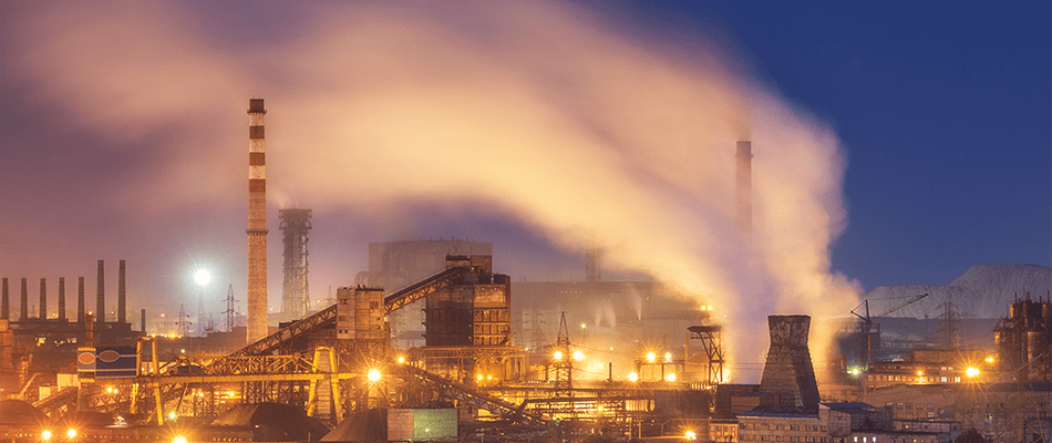 A picture of a steel production plant Like those where US Steel workers are considering organizing a strike.